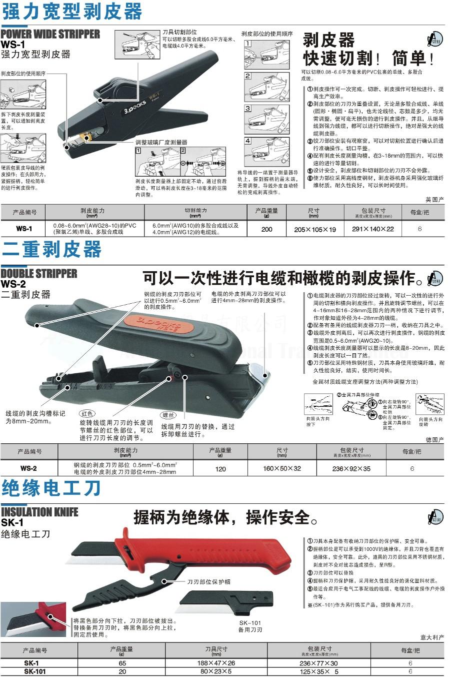 強力寛型剝皮器/二重剝皮器/絕緣電工刀